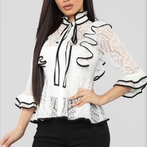 Fashion Nova Always Late Top - white/black lace